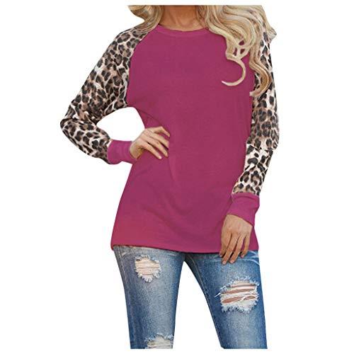 Best Bargain IEasⓄn Women Leopard Patchwork Long Sleeve Blouse Fashion Loose T-Shirt Tops Purple