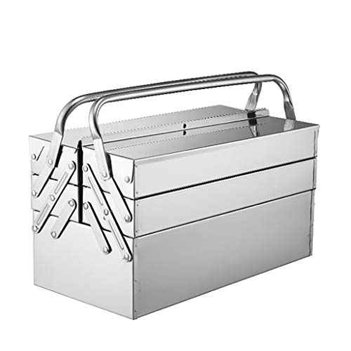 Wlik Metal Tool Box, Cantilever Stainless Steel Tool Chest Cabinet with Carry Handles Portable Lockable Storage Toolcase