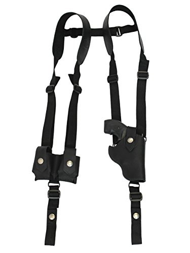 Barsony New Vertical Black Leather Shoulder Holster w/Speed-Loader Pouch for Ruger LCR 38, 22 Right