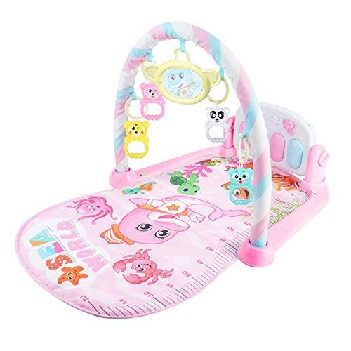 Reuvv Baby Spielmatte Kick Klavier Tastatur Musik Spielen Projektion Matte Kleinkind Übung Lern Rack Teppich für Kleinkind, Kinder, Neugeborenes - Rosa