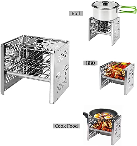 Product Image 2: Unigear Wood Burning Camp Stoves Picnic BBQ Cooker/Potable Folding Stainless Steel Backpacking Stove