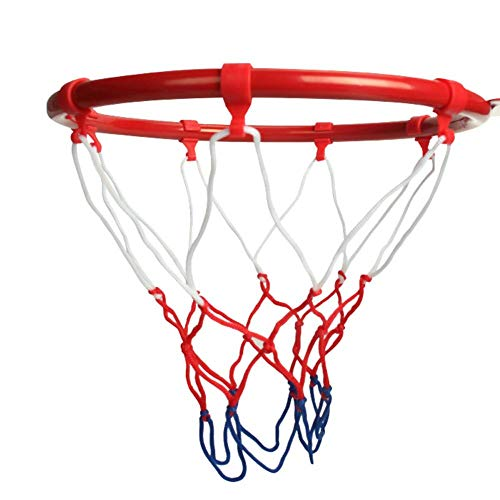 Set da pallacanestro, canestro da basket e rete, cestino da appendere in metallo fissato al muro, anello da basket con vite a rete per ragazzi, allenamento, sport indoor outdoor (diametro 25 cm)