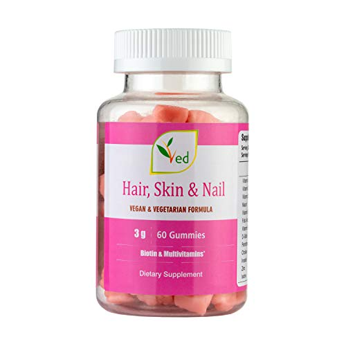 Hair Skin and Nails Biotin Multivitamins Chewable 60 Gummies, Suitable for Vegetarians and Vegans