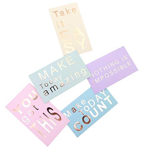 "Positive Quote Cards - 50 Unique Designs Affirmation Motivational Notes - 2"" x 3.5"" Rose Gold Foil Business Card Size Kindness Encouragement Inspirational Gratitude Mindfulness Appreciation Notecards"