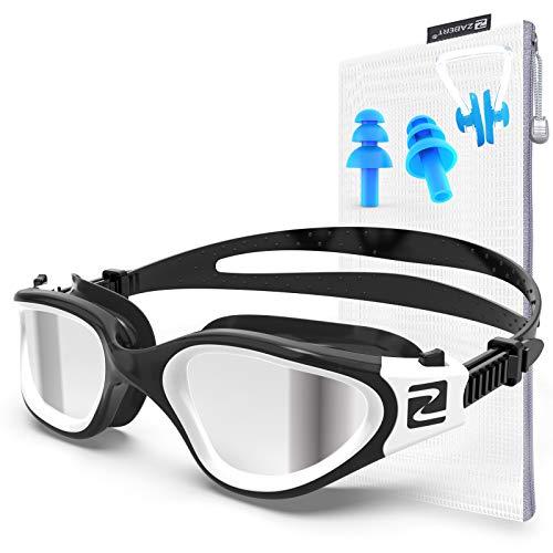 ZABERT Gafas de natación polarizadas para adultos, antiempañamiento para hombres, mujeres, jóvenes, niños de 8 años, para piscina, agua abierta, color negro y blanco | polarizado plateado
