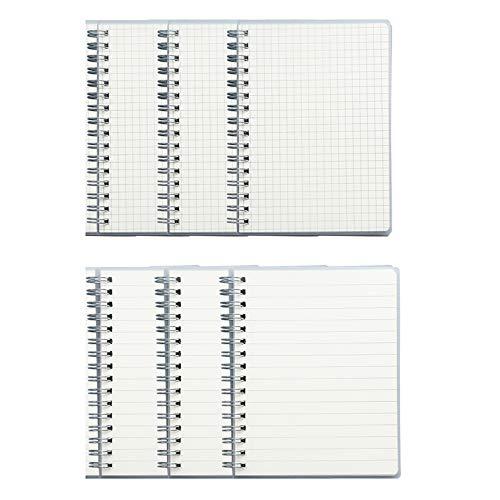 T-BOKO - Cuaderno de bolsillo con espiral, 6 unidades, tamaño A6 para oficina y estudiantes, bloc de notas (giro izquierdo (3 líneas y 3 paquetes a cuadros)