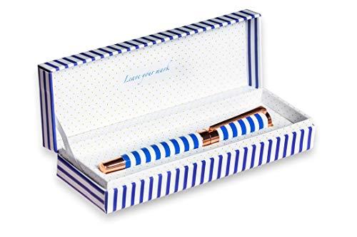 FILOU Bolígrafo roller recargable regalo para mujer | empaquetado con caja de regalo a juego | detalles dorados con grabados | tinta azul | acabado premium | satisfacción garantizada| Modelo Navy