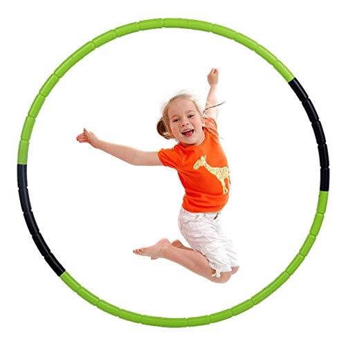 Hula Hoop Niña, Aro de Ejercicio Físico Ajustable Desmontable para Gimnasia, Baile, Juegos, Adelgazar para Niños y Niñas (70cm, Negro+Verde)