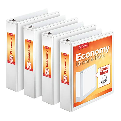 Cardinal Economy 3 Ring Binder, 2 Inch, Presentation View, White, Holds 475 Sheets, Nonstick, PVC Free, 4 Pack of Binders (79520)