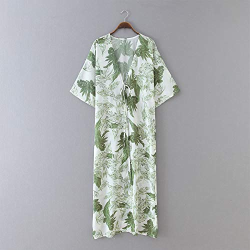 Yyh Waterval Cardigan-Sommer-strand-vertukking geopend voorste chiffon - met bloemen Kimono Tops Capes zonwering vertukking XX-Large wit