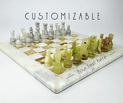 Personalized Unique Marble Onyx Chess Set with Board Arrived in Velvet Case