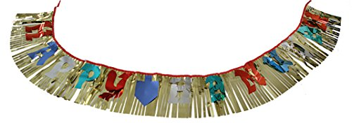Hanukkah Decorations for Jewish Holiday and Party. Multicolored'Happy Hanukah' lettered Design Gold Foil Hanging Banner. Great for: Temple Hanukkah and Jewish homes