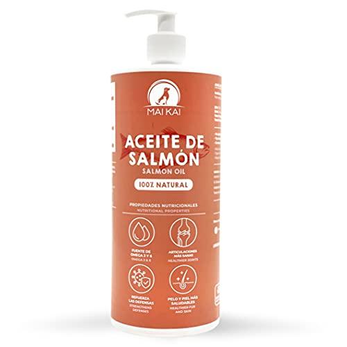 MAIKAI Aceite de salmón para Perros y Gatos - ( 1L ) Natural 100% con ácidos grasos Omega 3 y Omega 6 - Antiinflamatorio Natural - Salud de los Huesos, Piel y Pelo - Real Food - Dieta Barf (1000 ml)