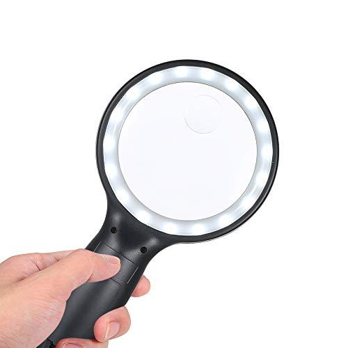 拡大鏡 手持ちルーペ 虫眼鏡  倍率5x・15x 18個LEDライト付き ストレスフリー 読書用  携帯 宝石鑑定 Tomshine