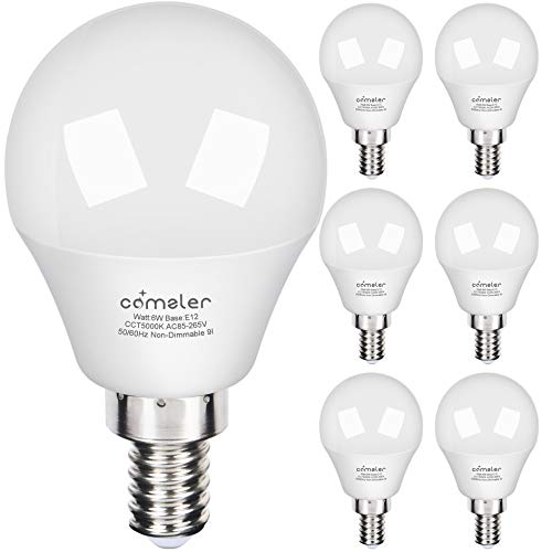 Comzler LED Ceiling Fan Bulb 60W Equivalent, Daylight 5000K, Candelabra Base G14 Decorative Round Bulb 600lm for Bedroom, Living Room, CRI>80, Non-dimmable, 6 Pack