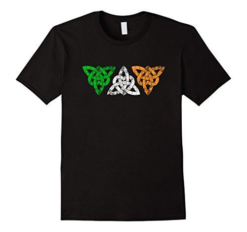 Irish Celtic Trinity knot hearts design: distressed T-shirt