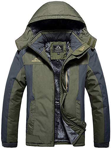 TACVASEN Outdoor Jacket Mens Waterproof Fleece Jacket Hiking Camping Fleece Jacket Thermal Fishing Hunting Coat Breathable Jacket Army Green(Size: M)