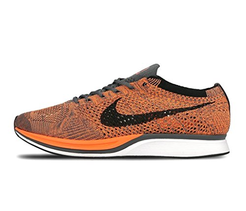 nike flyknit racer unisex running trainers 526628 sneakers shoes (uk 6.5 us 7.5 eu 40.5, total orange white dark grey 810)