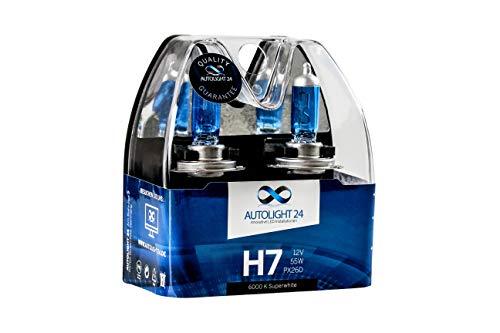 AutoLight24 2 bombillas halógenas H7, luz de cruce con efecto xenón, 6000 K, 55 W, H10