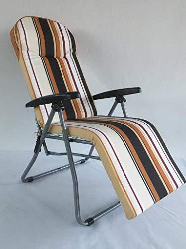 TECNOWEB - Colchón de repuesto para tumbona con reposacabezas anatómico para tumbona automática, 5 cm, color marrón y beige