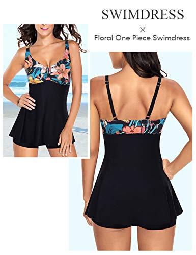 FeelinGirl Traje de Baño de 1 Pieza - Mujeres Tankini Vestido Estampado Floral Talla Grande Bañador Tirantes Ajustables Negro XXL:Talla-46