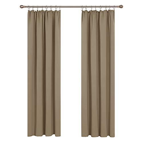 Deconovo Gardinen Verdunklung Schlafzimmer Vorhänge mit Kräuselband 245x140 cm Taupe 2er Set