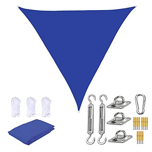 Triangle Vela De Sombra 2 × 2 × 2M, 90% UV Block Sombra De Vela De Tela Oxford Transpirable para Toldo De Jardín Y Patio con 3 Cuerdas Y Accesorios Gratis,6