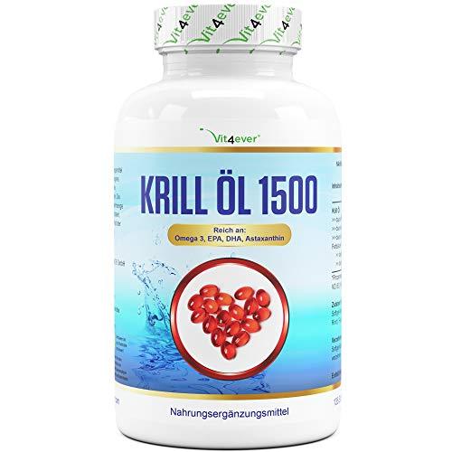 Krill Öl - 135 Kapseln - Premium: Antarktis Krillöl - Reich an EPA + DHA + Astaxanthin + Phospholipide + Omega 3 Fettsäuren - Laborgeprüft - Schadstoffarm