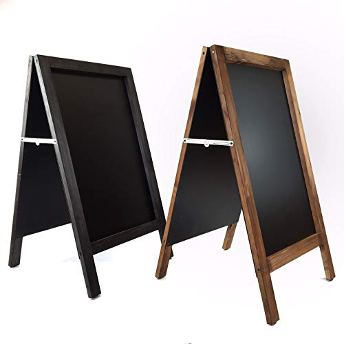 Pizarra caballete marco madera . Pizarra negra doble cara apta para tizas y rotuladores efecto tiza. Ideal para hostelería, infantil, restaurante, habitación niños, etc. (NEGRO, 120 x 60 cm)