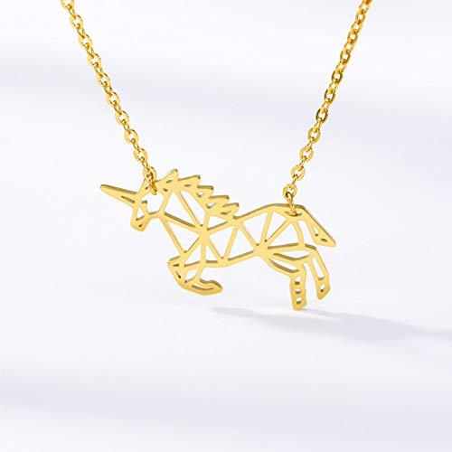 Collar FyaWTM, Joyas Colgante Lindo Origami Unicornio Collar Acero Inoxidable Color Dorado Diablo Pez Mariposa Mascota Perro Colgante Collar Regalos para Mujeres Niña Niños
