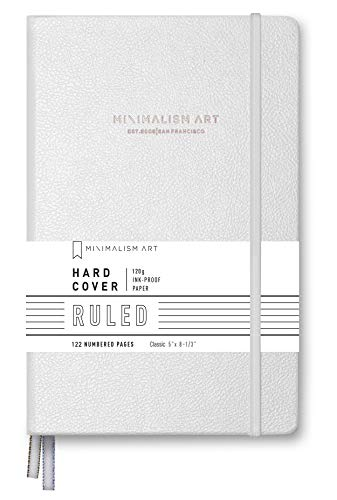 "Minimalism Art, Premium Hard Cover Notebook Journal, Wide Ruled 7mm, 122 Numbered Pages, Gusseted Pocket, Ribbon Bookmark, Extra Thick Ink-Proof Paper 120gsm, ( Small, Classic 5"" x 8.3"", White )"