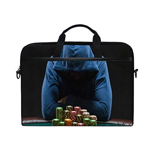 LOSNINA Laptop Tasche 15-15.4 Zoll,Casino Gambling House Gamestar Hardened Gambler Jeton,Neue Leinwand Drucken Muster Aktentasche Laptop Schulter Messenger Handtasche Case Sleeve