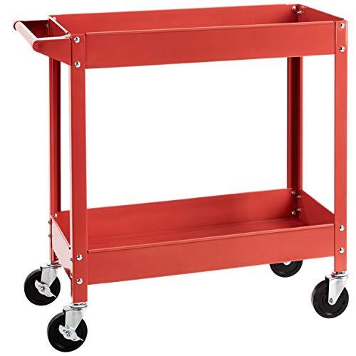 Amazon Basics Steel 2-Shelf Multipurpose Tub Utility/Supply Cart with 400-Pound capacity - Red