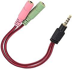 3.mm headset splitter audio cable 2 female to 1 male jack splitter