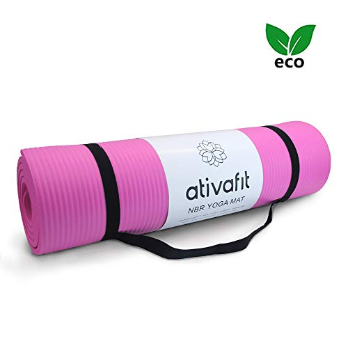 ATIVAFIT Exercise Mat NBR Fitness Mat with Carry Strap Large Padded -183 x 61 x 1 centimetres perfect for Pilates, Fitness & Workout (Pink)