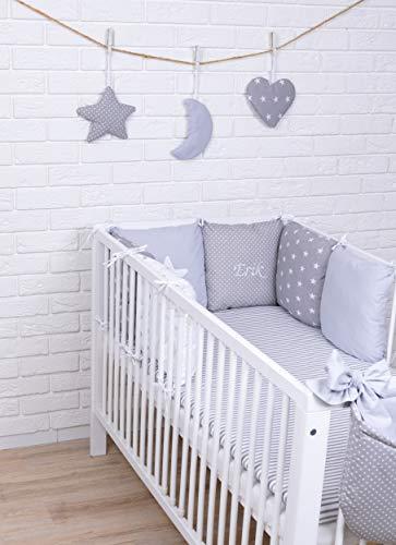 Amilian® Baby Bettwäsche Design46 mit Namen und Datum bestickt Nestchen Bettset 100x135 für Babybett Decke Kissen Bettumrandung