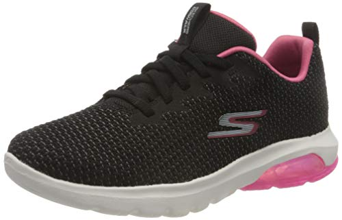 Skechers Go Walk Air, Zapatillas Mujer, Negro Textil Rosa Caliente, 37 Eu