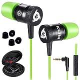 KLIM Fusion Ecouteurs Haute Qualité Audio - Durables + Garantis 5 Ans - Innovant - Ecouteur Intra-auriculaire avec Mousse à Mémoire de Forme et Microphone - Prise Jack 3,5mm - Version 2020 - Vert