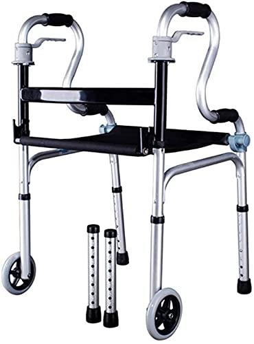 dh-2 Andador con Andador Andador para Ancianos, Cuatro Ruedas con Asiento Marco de Aluminio Plegable Ligero Adecuado para el hogar Ayuda de Movilidad para Caminar al Aire Libre 🔥