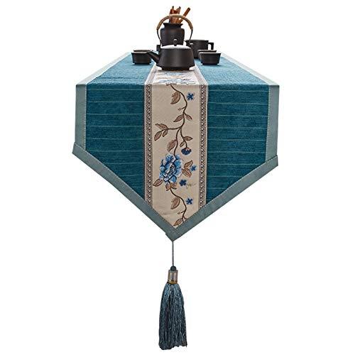 QXbecky Camino de Mesa Mantel de patrón de peonía con Bordado Antideslizante Bordado de Estilo Chino para Mesa de Centro clásica
