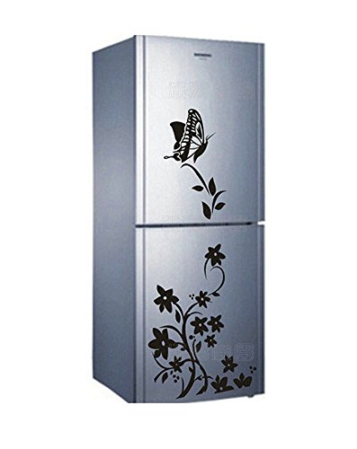 Demarkt Schmetterlinge Blumen Aufkleber Kühlschrank Wandtattoos Wandsticker für Schlafzimmer Wohnzimmer Küche und Kinderzimmer,Schwarz
