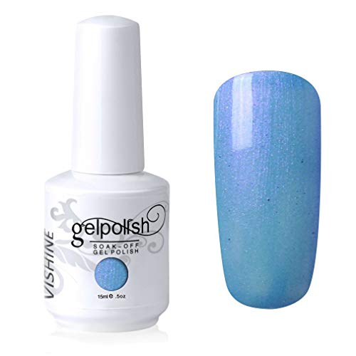 Vishine Vernis à ongles Semi-permanent Soak Off UV LED Gel Polish Nail Gel Manucure Pearl Bleu Clair(797)