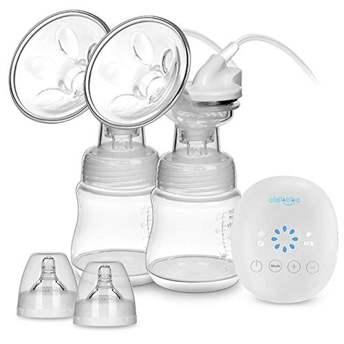 Elebebe Electric Double Breast Pump - Portable Breast Pump Kit, Quiet & Hygienic, 8 Levels of...