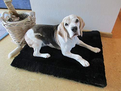 Engel Naturfelle Liegedecke Teppich für Katze und Hund Lammfell (Patch) 140x60cm schwarz