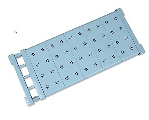 AEVEL Teleskop Aufbewahrung Regal Nail gratis für Kithchen Schrank, Badezimmer Caddy, Kleiderschrank, Schränke, Bücherregal Fach sammeln Prop ausziehbar 57 bis 90 cm verstellbar blau