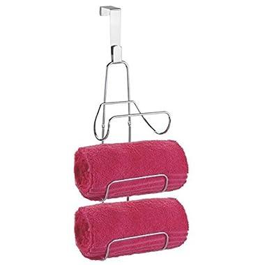 mDesign Modern Decorative Three Level Bathroom Towel Rack Holder & Organizer - Hang Over Shower Door or Wall Mount - for Storage of Bath Towels, Washcloths, Hand Towels - Chrome