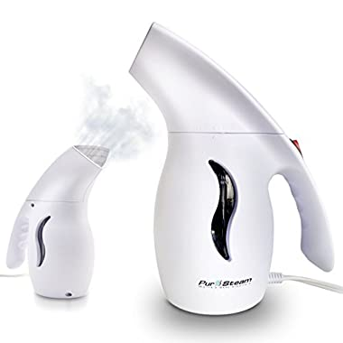 PurSteam Elite Travel Fabric Steamer, Fast-Heat Aluminum Heating Element With Travel Pouch, 180ml Capacity Perfect for Home and Travel