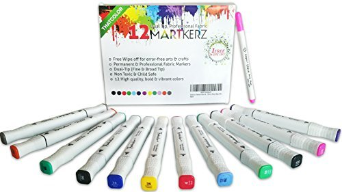 Thatcolor Fabric Markers All-in-One Set: 12 Dual Tip, Non Toxic, Permanent Graffiti Coloring Pens, Disappearing Ink Pen, Iron Transfer Sticker