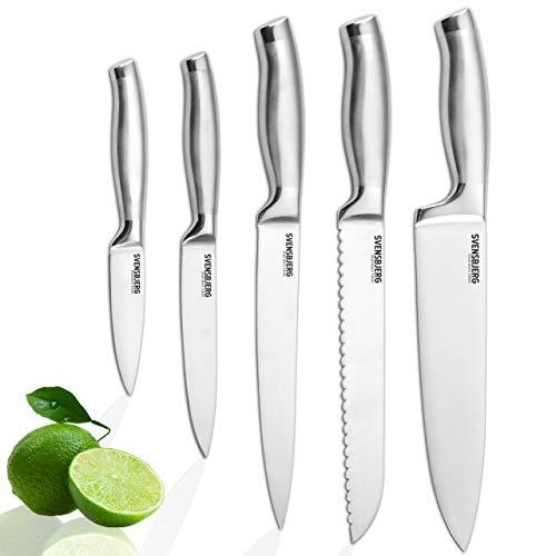 SVENSBJERG Messer-Set, 5-tlg, Küchenmesser-Set, Kochmesser-Set, Chef-Messer, Scharfe Edelstahl-Messer | Küche, Obst, Gemüse, Fleisch, hochwertiges Profi Set | SB-KS101