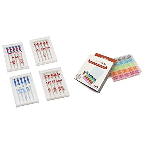 Alfa Agujas para Máquina De Coser 4 Estuches, Acero Inoxidable + 6050-Caja 25 Canillas Colores, Multicolor, 0